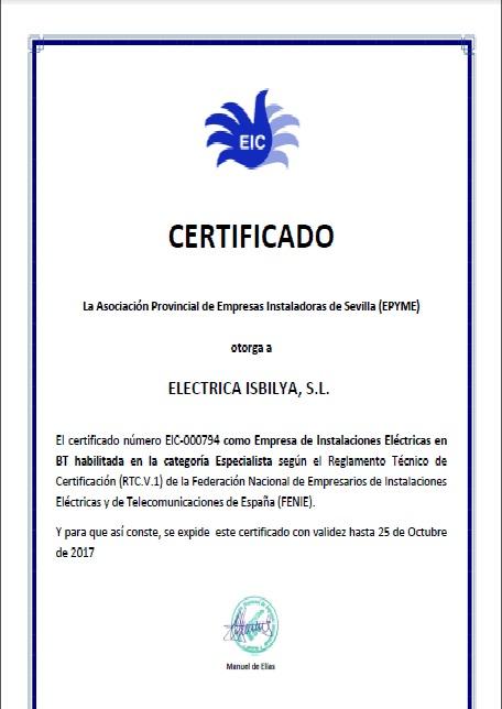 NUESTRO CERTIFICADO EIC DE FENIE-EPYME